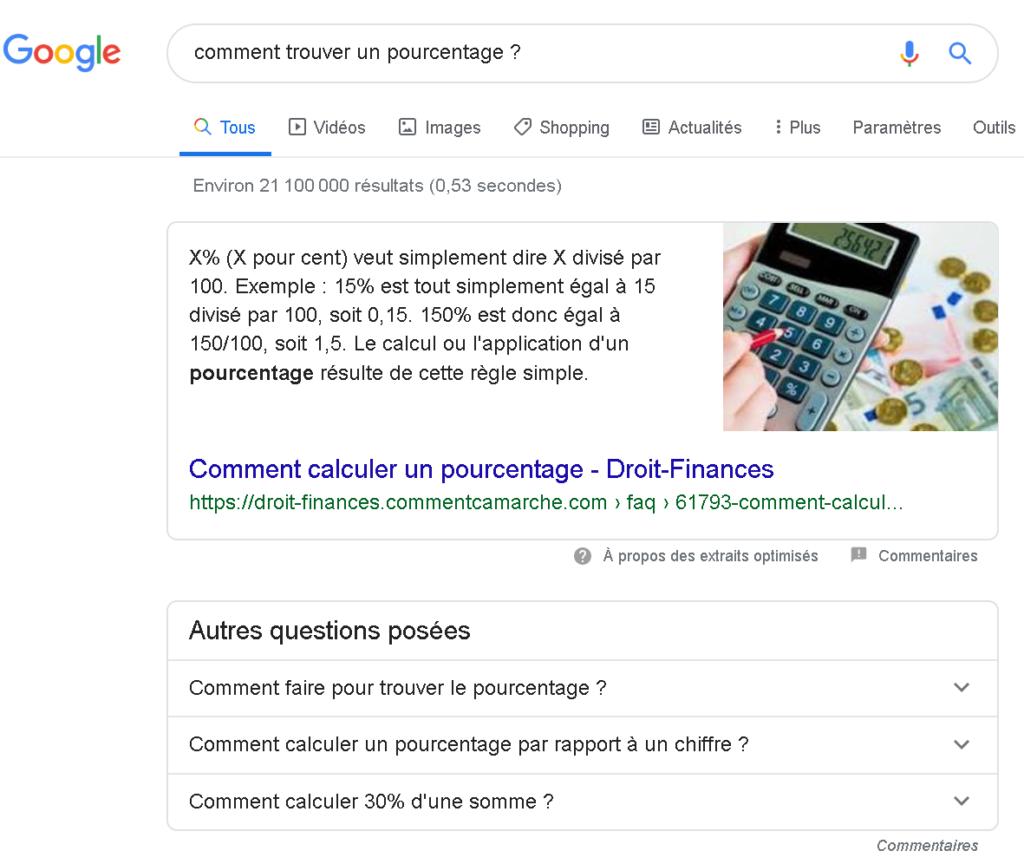 La position 0  de Google avec la réponse + des questions associées.